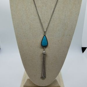 Lucky Brand Turquoise Tassel Long Silver Necklace